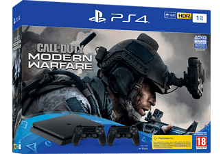 PlayStation 4 Slim 1TB + 2 Controller - Call of Duty: Modern Warfare Bundle - Spielekonsole - Jet Black