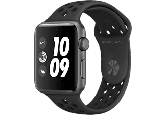 Apple Watch Nike+ - Smartwatch (140-210 mm, Hochleistungs-Fluorelastomer, Space Grau mit Nike Sportarmband Anthrazit/Schwarz)