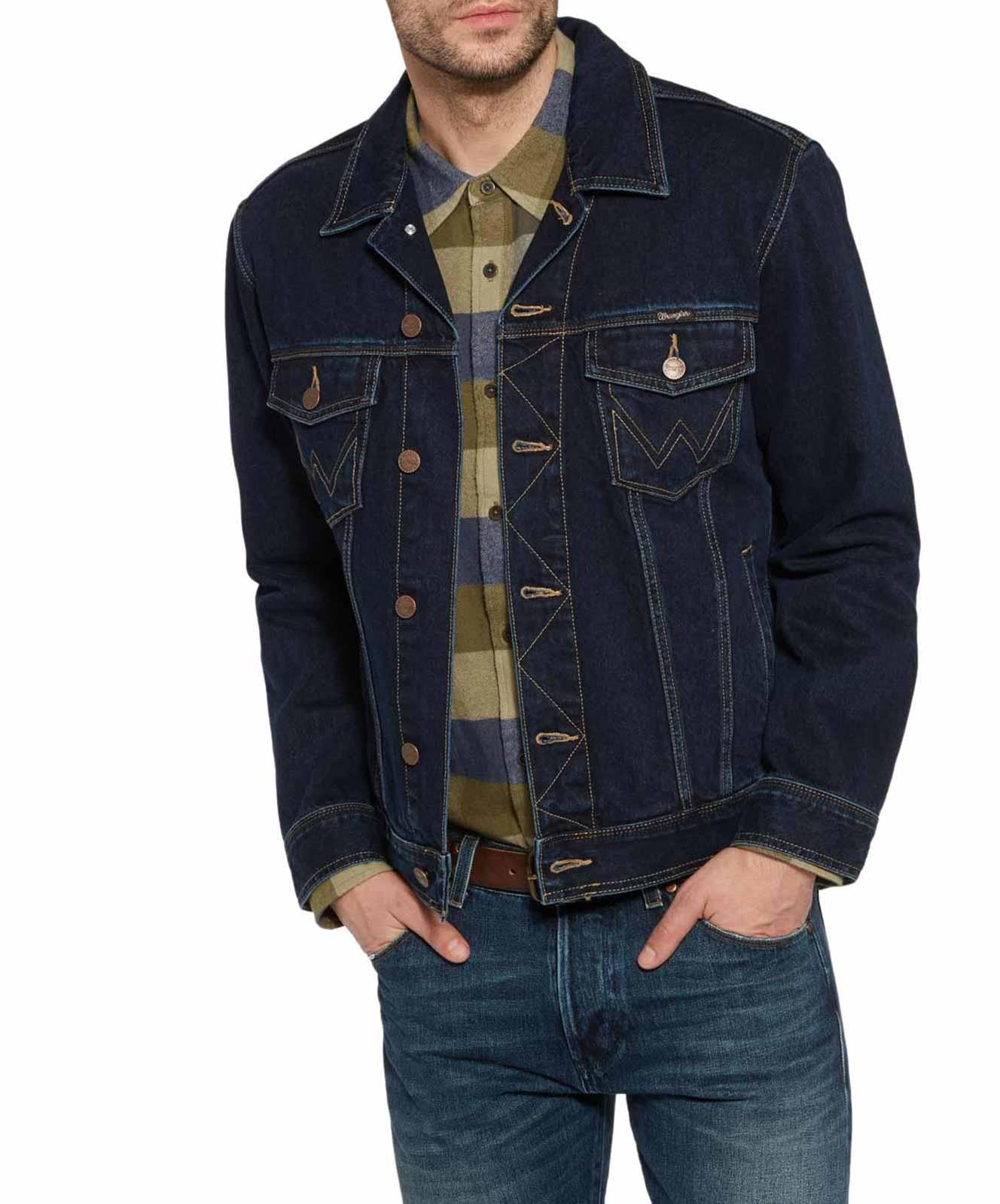 Wrangler Jeans Jacke in BlueBlack Relaxed Fit-M