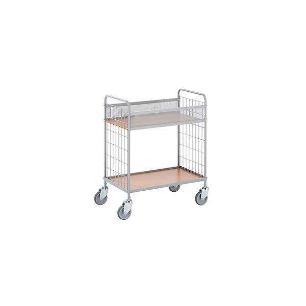 Büro-Etagenwagen  Tragfähigkeit 150 kg  mit 2 Etagen  4 Lenkrollen  Rad-Ø 100 mm