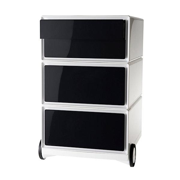 Rollcontainer aus Kunststoff - 2 Schubladen  2 Schübe flach - weiß / schwarz