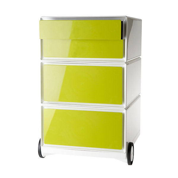 Rollcontainer aus Kunststoff - 2 Schubladen  2 Schübe flach - weiß / grün