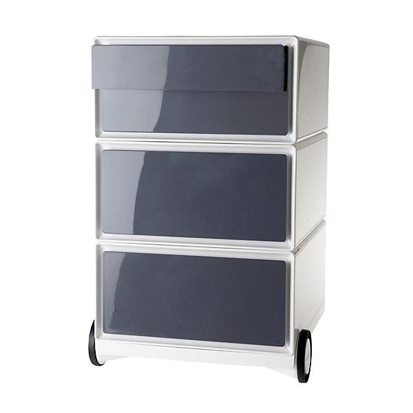 Rollcontainer aus Kunststoff - 2 Schubladen  2 Schübe flach - weiß / anthrazit