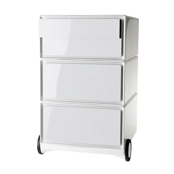 Rollcontainer aus Kunststoff - 2 Schubladen  2 Schübe flach - weiß / weiß