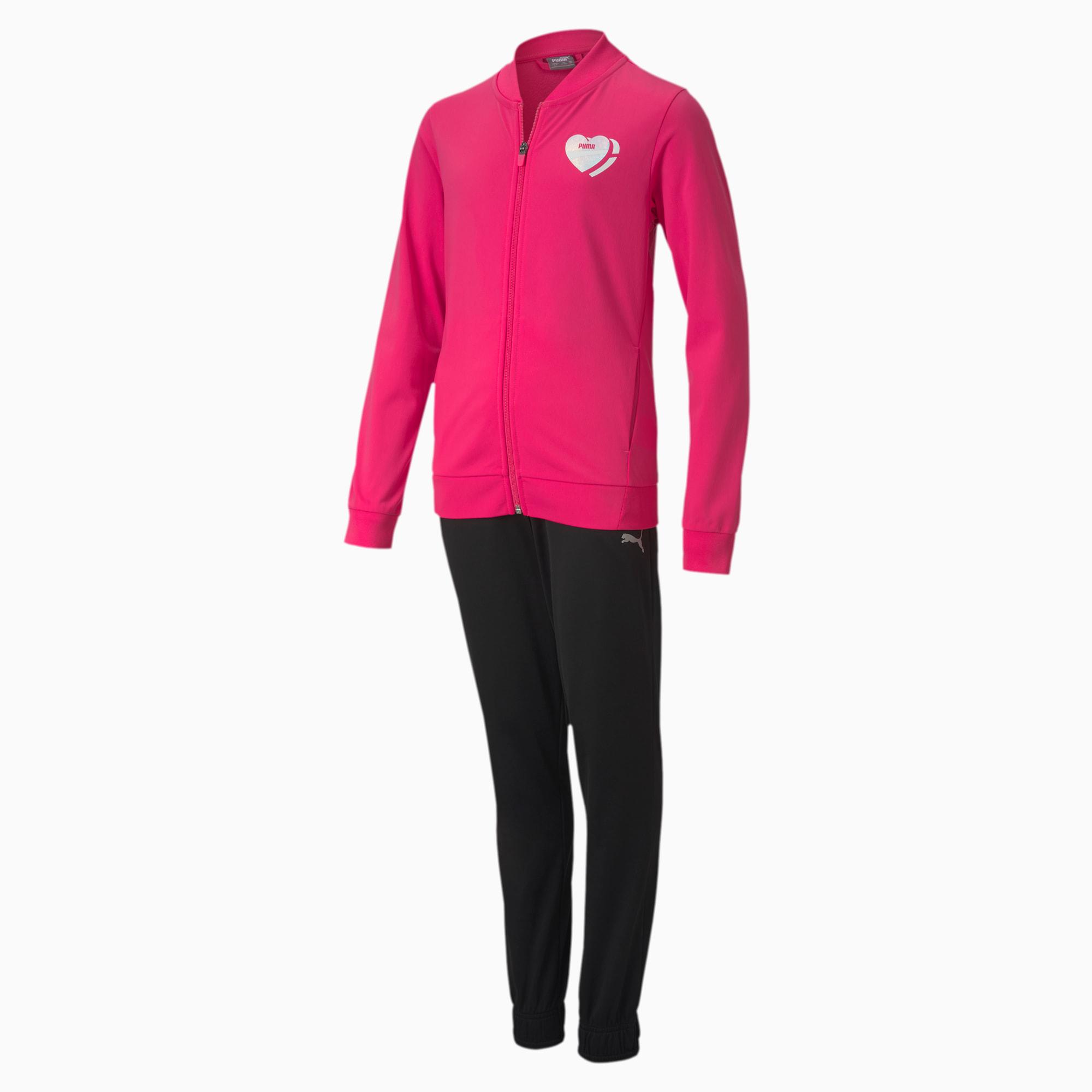PUMA Polyester Jugend Trainingsanzug Für Kinder | Mit Aucun | Rosa/Schwarz | Größe: 116