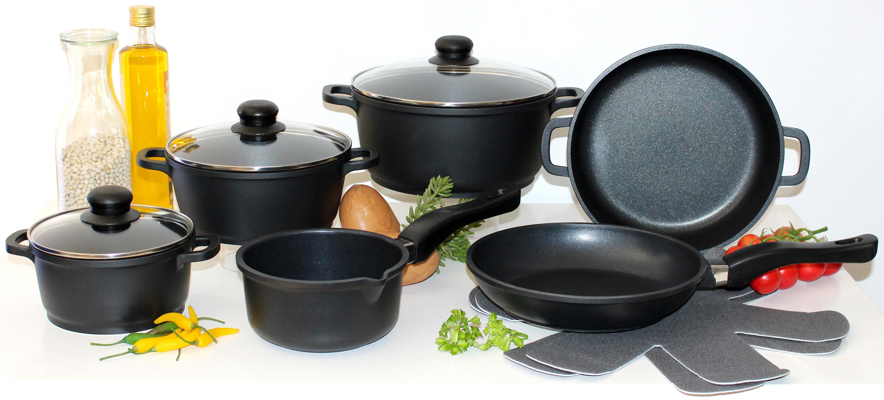Elo - Meine Küche Topf-Set (Set, 10-tlg., 4 Töpfe, 3, Deckel, 2 Pfannen, 1 Paar Pfannenschoner)
