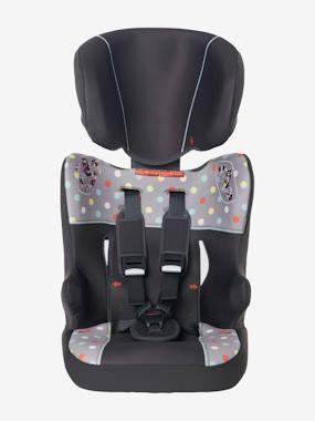 Mitwachsender Auto-Kindersitz Gruppe 1/2/3 grau getupft