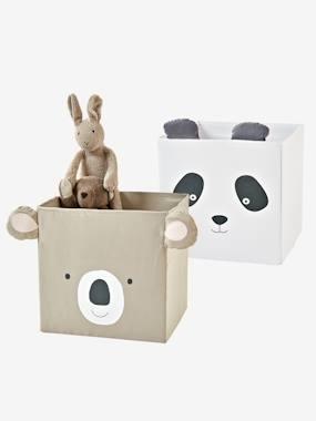2 Stoff-Aufbewahrungsboxen, Kinderzimmer taupe+hellgrau