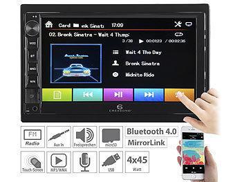 2-DIN-MP3-Autoradio mit Touchdisplay, Bluetooth, Freisprecher, 4x 45 W / Autoradio