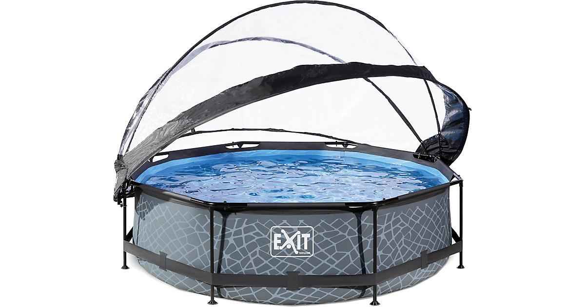 Frame Pool mit Sonnendach, ø 300 x 76 cm, grau