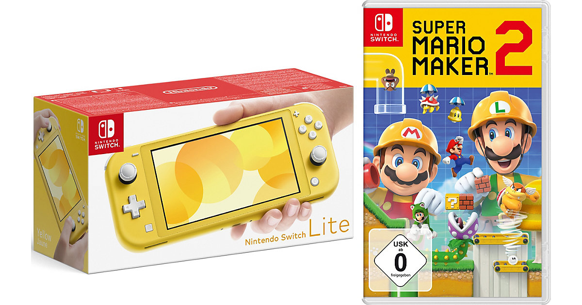 Nintendo Switch Lite Konsole, gelb  inkl. Nintendo Switch Super Mario Maker 2
