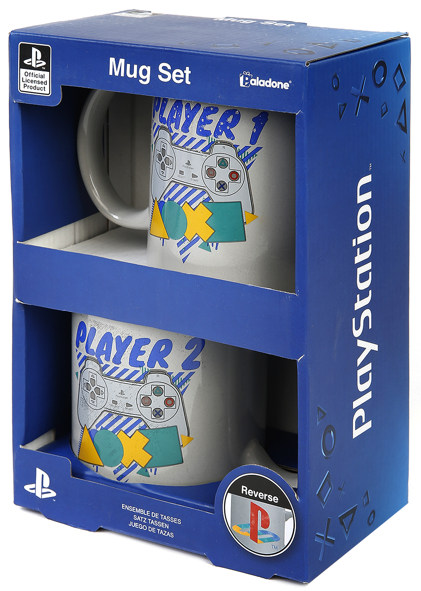 Playstation Player One and Player Two Tassen-Set multicolor